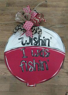 Fishing Cork Door Hanger Wishin' I was Fishin by ReLovedTreasure