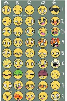 Emoji page by HR9 | so this is the thing I went by for the emoji challenge, it's not mine! How do you think I did with making the different expressions I did? XD eh, I had fun.