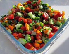 This colourful and refreshing summer salad is very popular in Israel, where it is often eaten for breakfast, http://www.food-recipes.me/israeli-chopped-vegetable-salad/