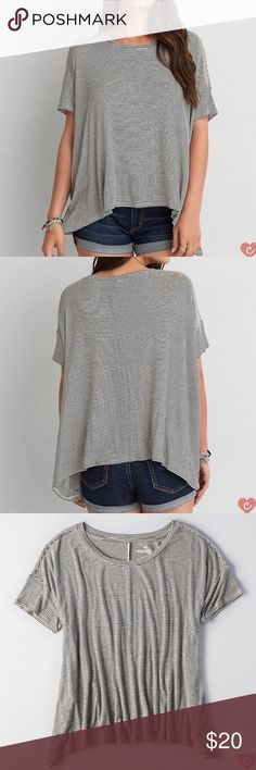 Striped Oversized Tee Relaxed, flowy fit. Minimalist style. Pair with black leggings for an effortless look. Size XS/S. Very soft stretchy material. American Eagle Outfitters Tops Tees - Short Sleeve