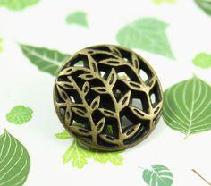Leaf Vines Metal Buttons , Antique Brass Color , Openwork , Shank , 0.79 inch , 10 pcs by Lyanwood, $5.00