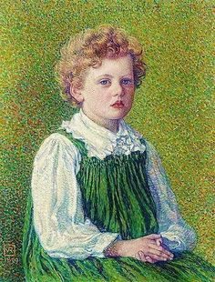 Margery. Theo van Rysselberghe (1862-1926) was one of the leaders of the Belgium neoimpressionists.  Perhaps his greatest contribution to the style was a series of portraits and group portraits in interior as well as outdoor settings, unique among the Neo-Impressionists. These he painted in accordance with a Symbolist and pantheistic iconography embraced by the nascent Art Nouveau movement.