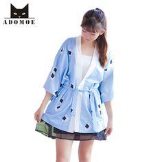 >> Click to Buy << Cute Japan Yukata Women's Kimono Style Shirt Kawaii Sushi Japanese Sweet Print Cute Tops Outwear Harajuku Three Quarter Girls  #Affiliate
