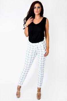 White & Blue Statement Trousers | NeedThatLook.com White Jeans, Capri Pants, Trousers, Blue, Fashion, Trouser Pants, Capri Trousers, Pants, Moda