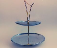 Mid Century Two Tiered Chrome Tray with Brass Tone Handle by TheCelticBelle on Etsy