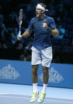 Juan Martin Del Potro of Argentina celebrates winning at match point during the ATP World Tour Finals tennis match against Richard Gasquet of France at the O2 Arena in London, Monday, Nov. 4, 2013. (AP)