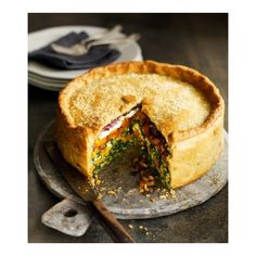 Butternut squash, spinach and goat's cheese pie ❤ liked on Polyvore featuring home and kitchen & dining