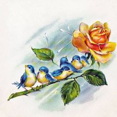 Bluebirds on Yellow Rose Downloadable Printable by naturepoet, $4.50