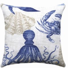 Nautical Outdoor 18x18 Pillow Cover Fish Seashells Lobster Coral Print... (€8,83) ❤ liked on Polyvore featuring home, home decor, throw pillows, decorative pillows, home & living, home décor, silver, sea home decor, outdoor throw pillows and dark blue throw pillows