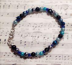 Blue Beaded Bracelet by Jaceyscreations on Etsy, £4.00