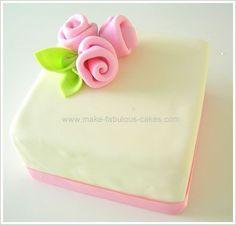 fondant roses cake