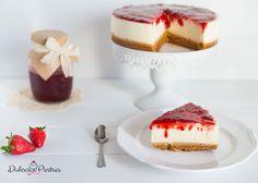 Tarta de queso con mermelada de fresa - Dulcespostres.com