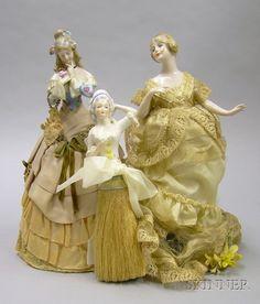 Four Porcelain Half Dolls on Bases | Sale Number 2419, Lot Number 1162 | Skinner Auctioneers