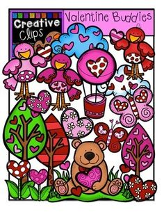 This 33-piece set is packed with Valentine themed critters and nature images. There is a variety of images in this set including birds, butterflies, heart flowers, heart clouds, heart trees, hot air balloon, and more!$
