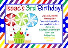 Boy Lollipop Birthday Invitation Boy by CutiesTieDyeBoutique, $15.00