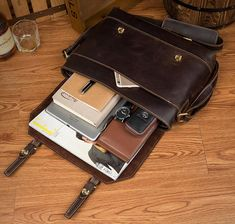 Leather Messenger Bag, Crossbody Leather Laptop Bag, Leather Briefcase MS160