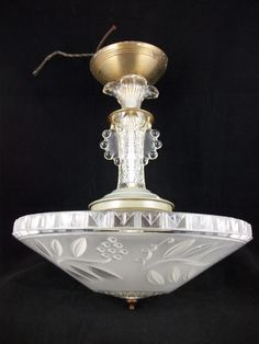 Vintage 30s Art Deco Chandelier Ceiling Light Fixture Antique Glass Shade Retro