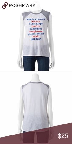 Summer top Product Details This muscle tee has uber-cute raglan sleeves and a comfortable burnout construction.  PRODUCT FEATURES Contrast raglan sleeves Crewneck Burnout design FABRIC & CARE Machine wash - delicate 2.5 Tops
