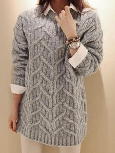 Gray Loose Cable Knit Jumper