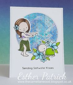 Hi everyone, it's Esther here with a tropical ocean card using My Favorite Things. I started by stamping and heat embossing in silv...