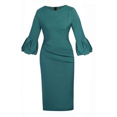 Elegant Bell Sleeve Plain Bodycon Dress ($38) ❤ liked on Polyvore featuring dresses, blue body con dress, blue bodycon dress, flared sleeve dress, bell sleeve dress and body conscious dress
