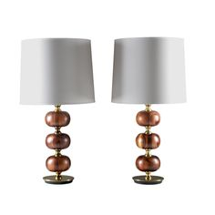 Pair of table lamps in rosewood and brass by Tranås Stilarmatur