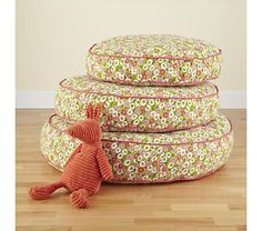 Kids' Seating: Stacking Floral Floor Cushions