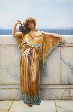 John William Godward (British, 1861-1922) 'Clymene', 1892 oil on canvas: Clymene was a Titan goddess in Greek mythology, daughter of the Titans Oceanus and Tethys, thus making her an Oceanid. She was the goddess of renown, fame, and infamy. She was married to the Titan Iapetus, and they had four sons, Atlas, Epimetheus, Prometheus and Menoetius. She was also a consort of Helios, with whom she had a son, Phaeton, and the Heliades.