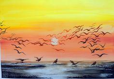 -gabbiani- acquerello 35x51 di Lorenza Pasquali