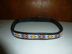 Womens Vintage Indian Style Beaded Belt M Medium Concho Decorations Black Leather
