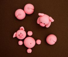 Fondant pigs cake topper. Fondant animals. by SugarDecorByLetty
