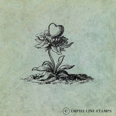 A flower with a Heart  Antique Style Clear by EmpireLineStamps