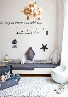Here is one of the shots you will see in our new catalogue... A story in black and white...for kids and teens... I hope you like it...  1. Bau pendant light 2. Rabbit prints by HAM 3. My favourite Bat