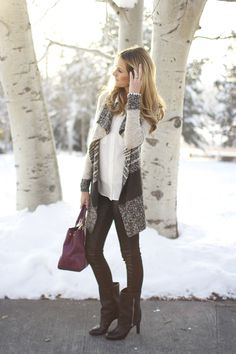 A Cozy Sweater + Leather | Ivory Lane