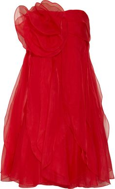 Notte by Marchesa Rosette-Embellished Organza Dress Red Cocktail Dress, Cocktail Gowns, Rose Dress, Dress Red, Organza Dress, Marchesa, Embellished Dress, Shades Of Red, Couture Fashion