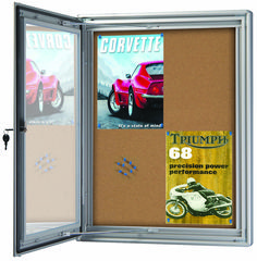 This Cork Notice Board is ideal product for offices, community spaces, school foyers and classrooms.  Also, this notice board is low maintenance, key lockable, weather proof seals and hinged door with stays for product features.  #noticeboard #schoolnoticeboard