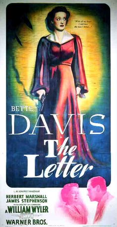 Bette Davis The Letter - Three-sheet poster featuring Bette Davis as Leslie Crosbie.