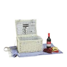 2-Person Hand Woven White Willow Picnic Basket Set with Accessories
