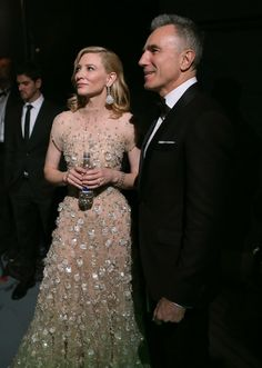 Actor Daniel Day-Lewis and Best Actress winner Cate Blanchett backstage during the Oscars held at Dolby Theatre on March 2, 2014 in Hollywood, California.