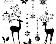 Reindeer Silhouette Clip Art Prancer Digital Clip Art