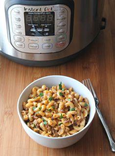 instant pot and bowl of cheeseburger mac