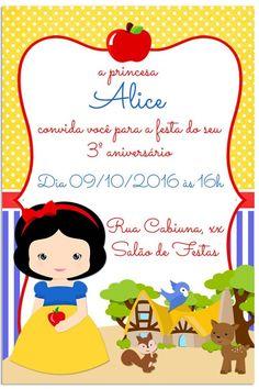 convite branca de neve baby Festa Frozen Fever, Ideas Para Fiestas, Happy Fathers Day, 4th Birthday, Rapunzel, Minnie Mouse, Snow White, Alice, Baby Shower