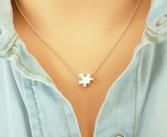 Sterling Silver Puzzle Piece Necklace, Gold Puzzle Necklace, Dainty Charm Necklace, Thin Chain Necklace, Minimalist Necklace by MONADESING on Etsy https://www.etsy.com/au/listing/292660055/sterling-silver-puzzle-piece-necklace