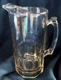 Heavy Glass Mug Style Pitcher For Beer or Root Beer, Vintage by HeronBlueVintage on Etsy