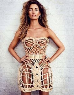 Wicker knickers! Lily Aldridge showcases her envy-inducing figure as she poses…