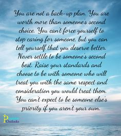 You Are Not A Back-Up Plan | Positive Outlooks Blog