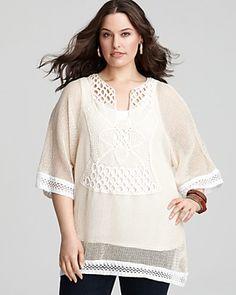 "XCVI Plus Size ""Astella"" Crochet Pullover"