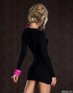 Mini abito sexy con bottoni - Nero - Taglia unica - Codice: 97000504