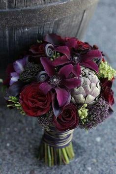 """Black"" Roses, Aubergine Calla Lilies, Garnet Clematis, Artichokes, Fiddlehead Fern Shoots"
