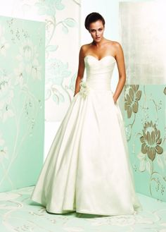 Paloma Blanca - 4165 - Rouched sweetheart top, ballgown, pockets!